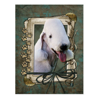 Fathers Day - Stone Paws - Bedlington Terrier Postcard