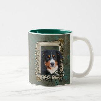 Fathers Day - Stone Paws - Bernese Mountain Dog Two-Tone Coffee Mug