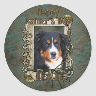 Fathers Day - Stone Paws - Bernese untain Dog Classic Round Sticker
