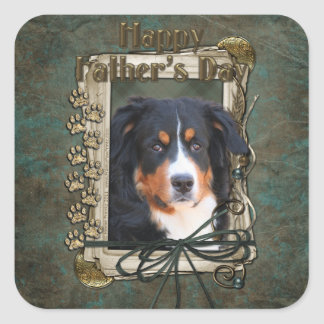 Fathers Day - Stone Paws - Bernese untain Dog Square Sticker