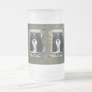 Fathers Day - Stone Paws - Cavalier - Tri Color Frosted Glass Beer Mug