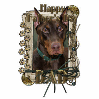 Fathers Day - Stone Paws - Doberman - Rocky - Dad Standing Photo Sculpture