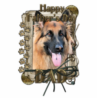 Fathers Day -Stone Paws German Shepherd Chance_Dad Standing Photo Sculpture