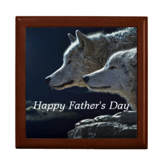 Father's Day Wolves Large Square Gift Box