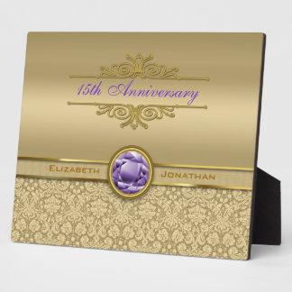 Faux Amethyst Gemstone Metallic Shiny Gold Damask Plaque