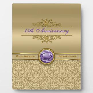 Faux Amethyst Gemstone Metallic Shiny Gold Damask Plaques