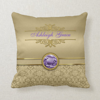 Faux Amethyst Gemstone Shiny Metallic Gold Damask Cushion