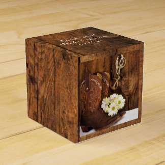 Faux Barn Wood Cowboy Boots Daisies Horse Wedding Wedding Favour Boxes