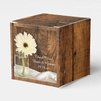 Faux Barn Wood Mason Jar White Daisy Barn Wedding Wedding Favour Box