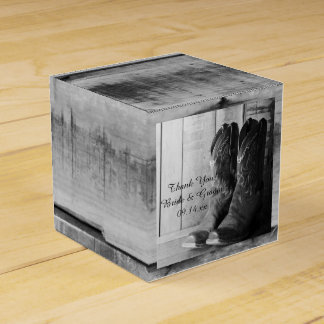 Faux Barn Wood Rustic Cowboy Boots Western Wedding Favour Boxes