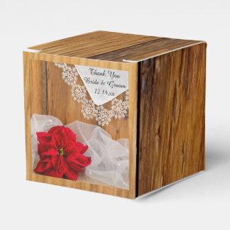 Faux Barn Wood Rustic Poinsettia Winter Wedding Favour Box