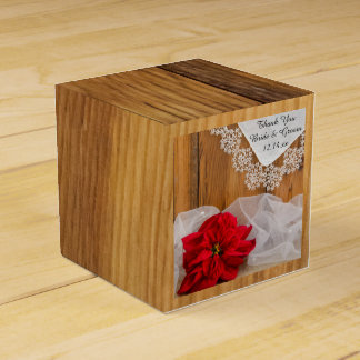 Faux Barn Wood Rustic Poinsettia Winter Wedding Wedding Favour Boxes