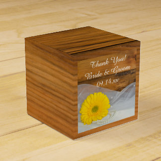 Faux Barn Wood Yellow Daisy and Pearls Wedding Favour Box