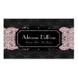 Faux Black Pink Lace French Vintage Business Card