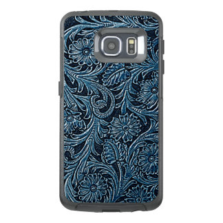 Faux Blue Leather Chic Paisley Floral Pattern
