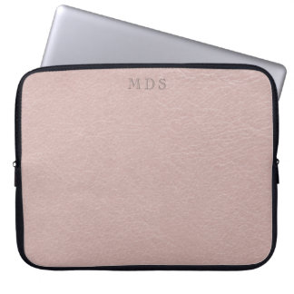 Faux Blush Pink Leather Look Laptop Sleeve
