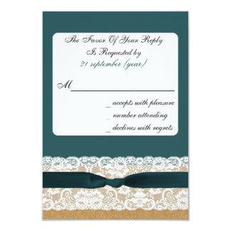 FAUX burlap and lace with aqua rsvp 3.5 x 5 9 Cm X 13 Cm Invitation Card