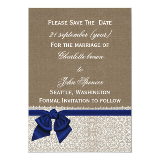 FAUX burlap and lace with navy blue save the dates 13 Cm X 18 Cm Invitation Card