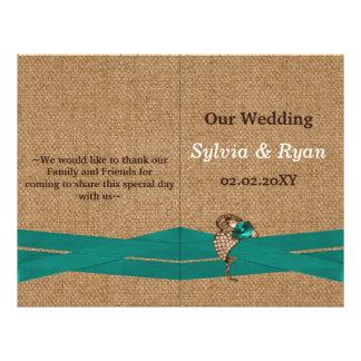 FAUX burlap ,aqua brooch bi fold Wedding program 21.5 Cm X 28 Cm Flyer
