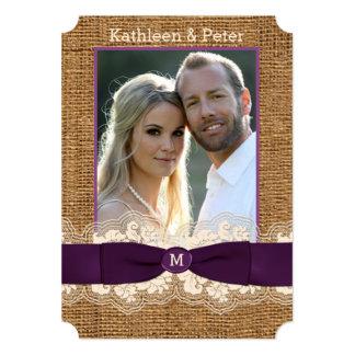FAUX Burlap Lace Bow PHOTO Wedding Invite, Purple Card