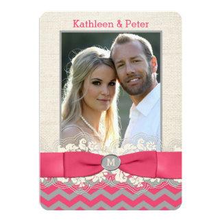 FAUX Burlap, Lace PHOTO Wedding Invite, Chevron 4 Card