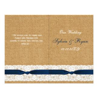 FAUX burlap lace, rustic wedding programs folded 21.5 Cm X 28 Cm Flyer