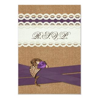 FAUX burlap, lace with purple wedding rsvp 3.5 x 5 Invite