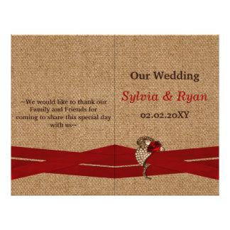 FAUX burlap ,red brooch bi fold Wedding program 21.5 Cm X 28 Cm Flyer