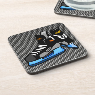 Faux Carbon Fiber Hockey Skates Beverage Coaster