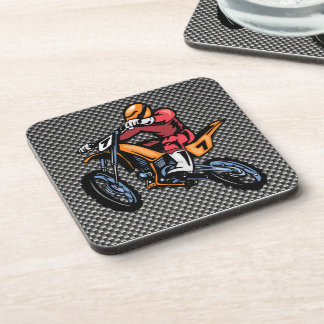 Faux Carbon Fiber Motocross Beverage Coaster