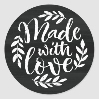 Faux Chalkboard Lettering Made With Love Classic Round Sticker