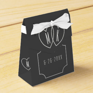 Faux Chalkboard Wedding Interlocking Hearts Favor Party Favour Box