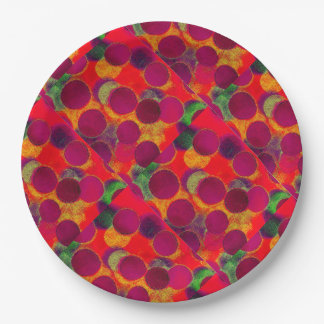 Faux Circle Paper Plate-Fun Multi Color 9 Inch Paper Plate