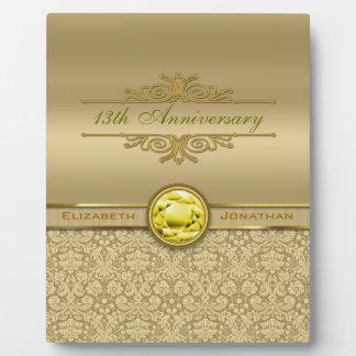 Faux Citrine Yellow Gemstone Metallic Gold Damask Plaque