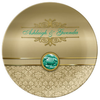 Faux Emerald Green Gemstone Metallic Gold Damask Porcelain Plates