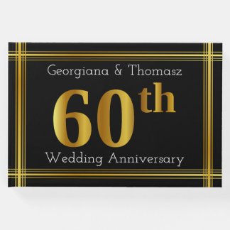Faux Gold 60th Wedding Anniversary Guest Book