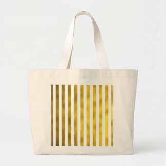 Faux Gold Bronze White Vertical Stripes Striped Large Tote Bag
