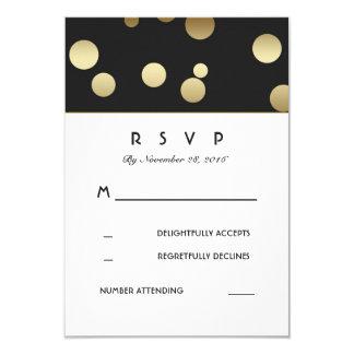 Faux Gold Confetti Wedding RSVP Cards 9 Cm X 13 Cm Invitation Card