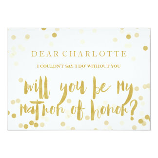 Faux Gold Confetti Will You Be My Matron of Honour Card