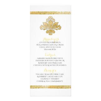 Faux Gold Damask Dinner Party Menu Black Custom Customised Rack Card