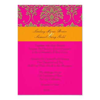Faux Gold Damask/orange/hot pink 5x7 Paper Invitation Card