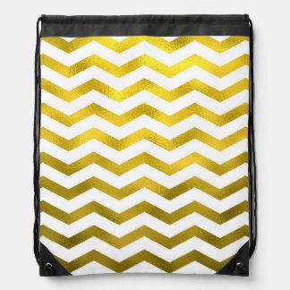 Faux Gold Foil Chevron Pattern White Metallic Drawstring Bag