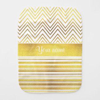 Faux Gold Foil Chevrons and Stripes Burp Cloth