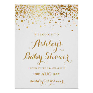 Faux Gold Foil Confetti Baby Shower Welcome Sign Poster