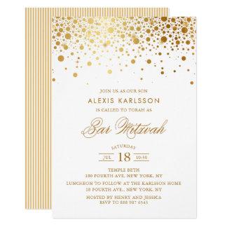 Faux Gold Foil Confetti Bar Mitzvah Invitation