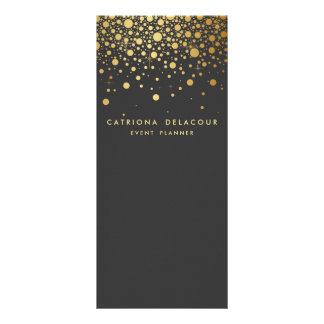 Faux Gold Foil Confetti Business Rack Card | Gray