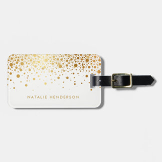 Faux Gold Foil Confetti Dots Personalized Luggage Tag