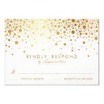 Faux Gold Foil Confetti Dots Wedding RSVP Card Personalized Invite