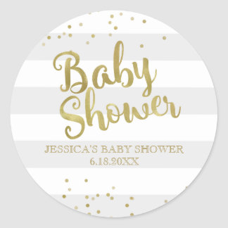 Faux Gold Foil Grey Stripes Baby Shower Favour Round Sticker