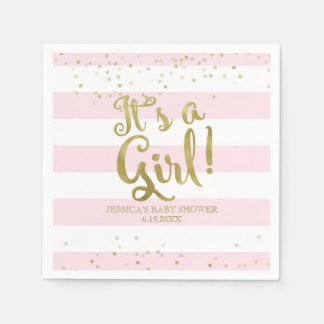 Faux Gold Foil Pink Stripes Baby Shower Its a Girl Disposable Serviettes